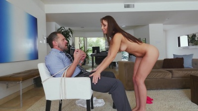 Aidra Fox takes total control of helpless stepfather's cock