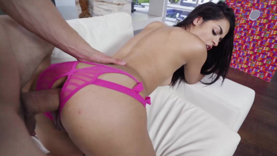 Ebony Vienna Black has her first anal sex in crotchless panties