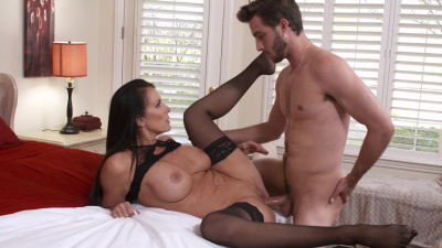 Reagan Foxx helps her son's friend to release copious amounts of jizz all over her