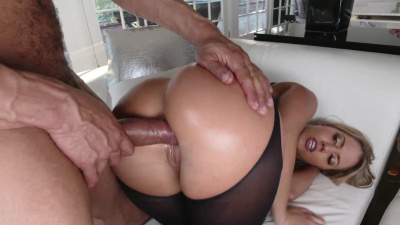 Stocking suited Candice Dare takes a hard fuck & a thick load
