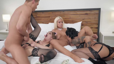 Bridgette B in motel foursome with bff's bro & 2 maids in Rich Fucks: Part 2