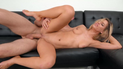 Aspen Rose masturbates & gets bend over fucked on the casting couch