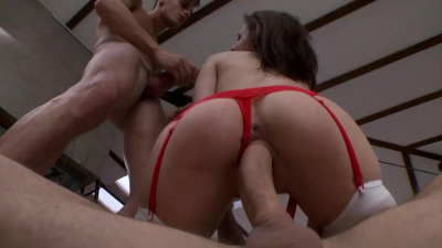Ass to mouth threesome for busty nurse Mary Wet