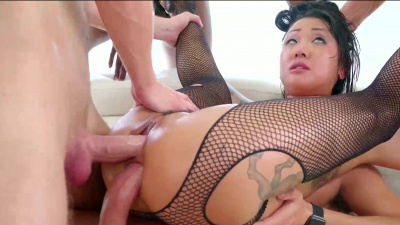 Exotic asian beauty surrounded by stiff meat