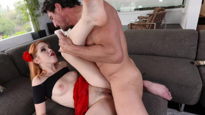 Hot redhead Amarna Miller gives her hairy pussy to a hung lad