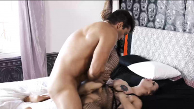 Charming goth Scarlet De Sade excites her neighbor and gets sex and cum on tits