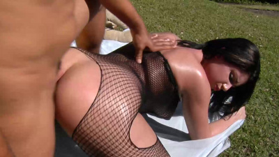 Big assed brunette Britney Bitch takes anal like a champ