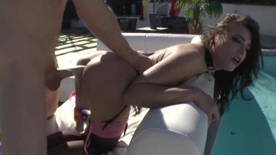 Sex slave Adriana Chechik sucks dick ass-to-mouth
