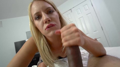 Bossy MILF Candice Dare helps stepson with erection