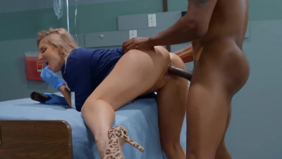 Naughty nurse Ashley Fires inspects and puts to the test patient's fitness abilities