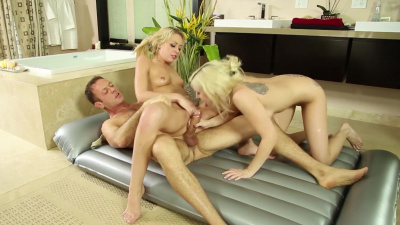 Double blowjob from hot stepsisters Christie Stevens and Zoey Monroe