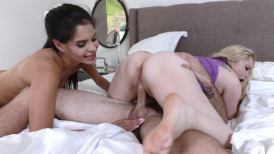 Aiden Starr has a naughty threesome with her stepdaughter Katya Rodriguez and her new bf