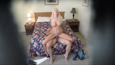 Platinum blonde Nina Elle has no clue about hidden camera