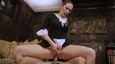 Maid Paige Turnah giving butler's big hard cock some tender attention