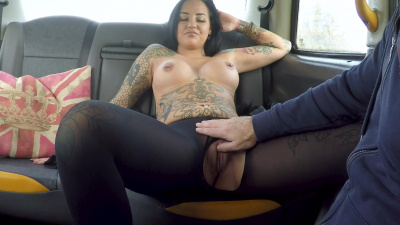 Beth Inked Princess rides dick till facial in the car