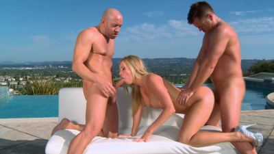 Lusty Samantha Saint sandwiched by the pool
