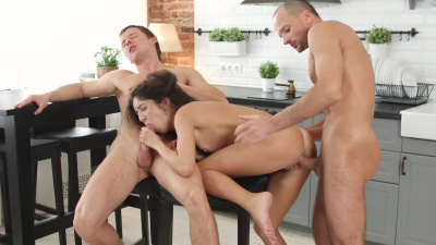 Katty West makes out with her curly-haired boyfriend and his friend