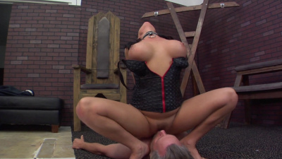 Harsh mistress Tory Lane facesitting on her slave