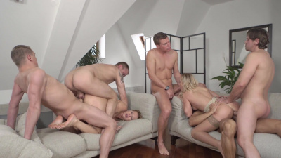 Vinna Reed and Nikky Dream banged by a bunch of guys