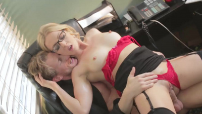 Karla Kush gets throat fucked then bend over for a pussy slamm at work